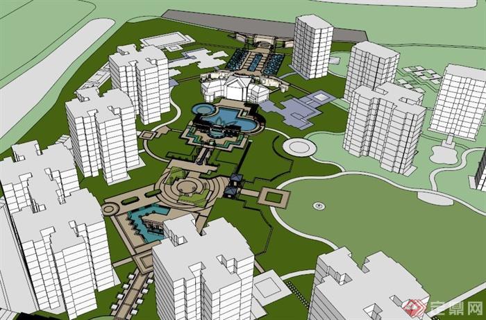 简约欧式住宅小区中心景观带su模型[原创]