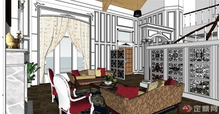 欧式别墅室内设计su模型素材[原创]