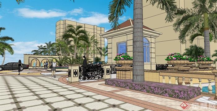 欧式住宅小区中心景观及大门设计su模型[原创]