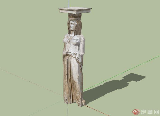 欧式古典女性人物雕像su模型[原创]