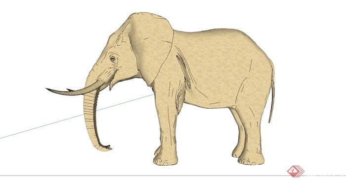 逼真大象雕塑设计su模型(3)