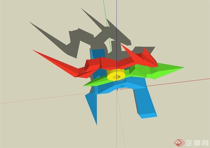 现代风格抽象雕塑小品su模型(3)