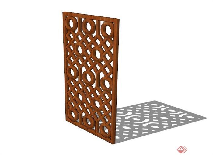 木制几何楼空隔断设计su模型[原创]