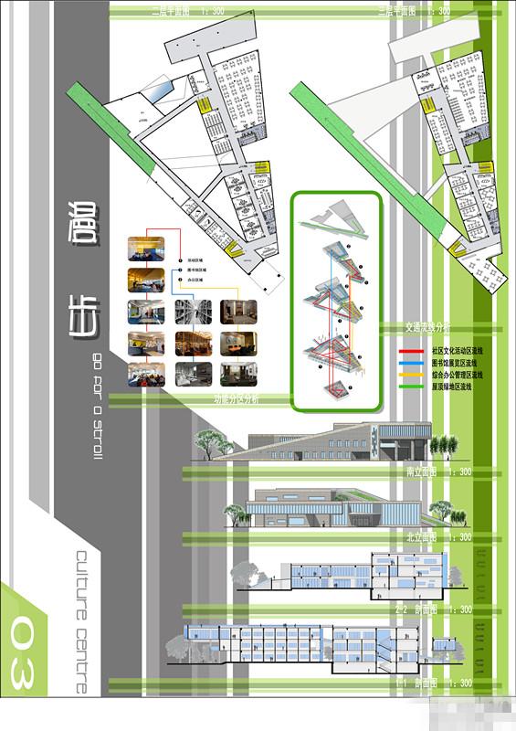 现代风格青少年活动中心建筑设计(cad、su、展cad很卡图片