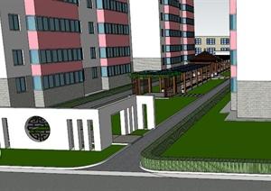 现代中式住宅小区中心景观SU(草图大师)模型