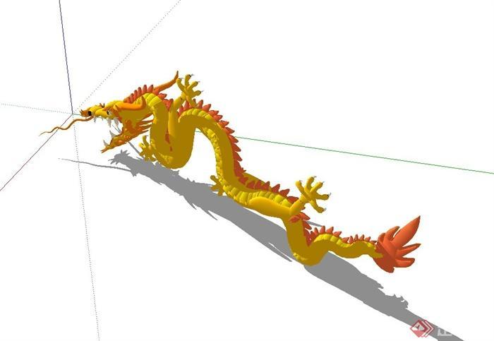 某现代风格龙动物雕塑设计su模型(3)