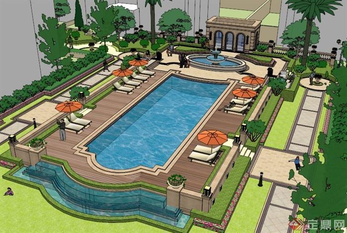 欧式小区游泳池设计su模型[原创]