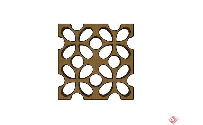 现代木制镂空花窗su模型(2)