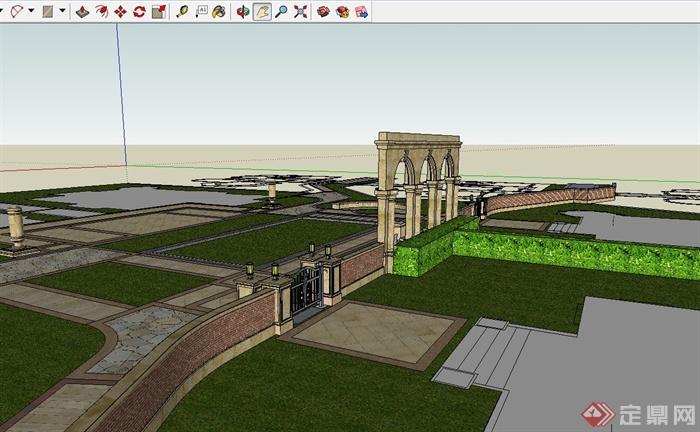 欧式风格小区入口简单景观设计su模型[原创]