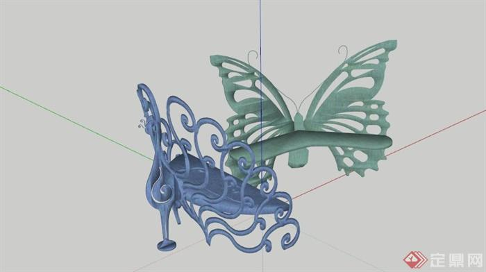 孔雀蝴蝶雕塑小品组合设计su模型(1)