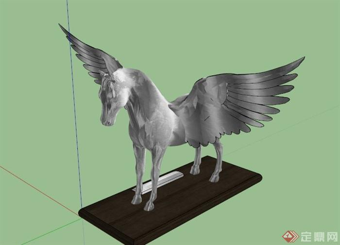 天使翅膀骏马雕塑设计su模型(1)