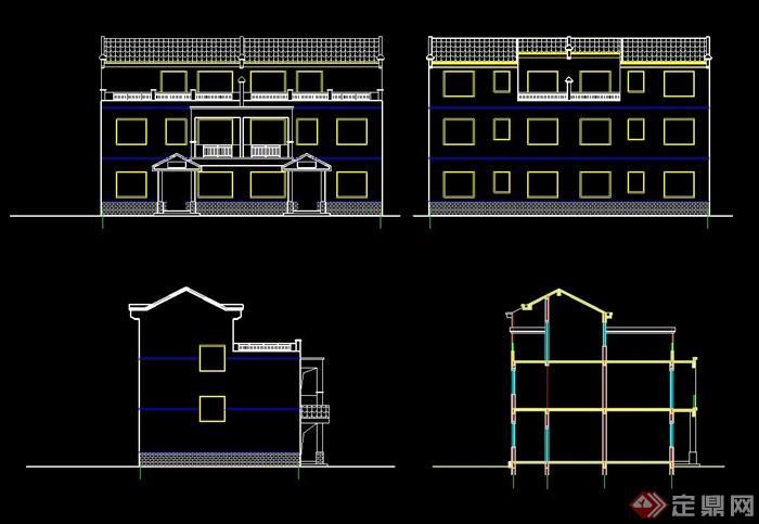 农村三层双拼别墅自建房全套cad施工图