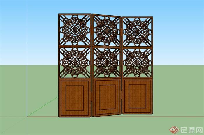 现代木制镂空屏风设计su模型(3)