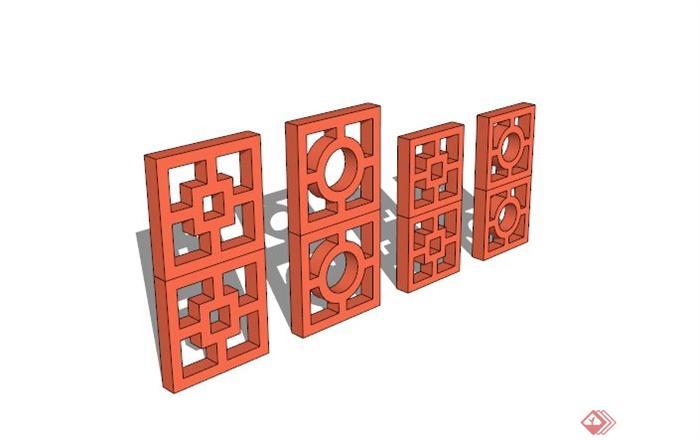 现代镂空窗花设计su模型(1)