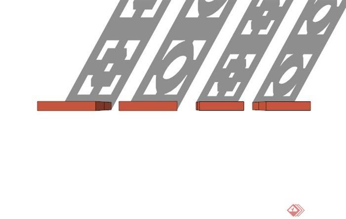 现代镂空窗花设计su模型(2)