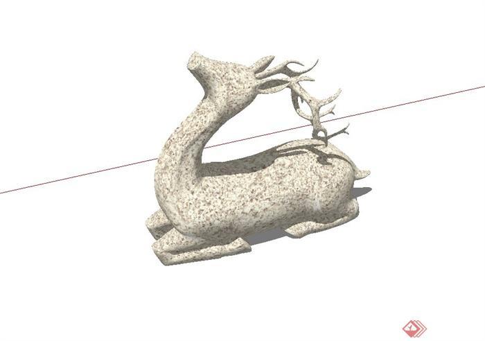 精致详细鹿雕塑小品设计su模型(2)
