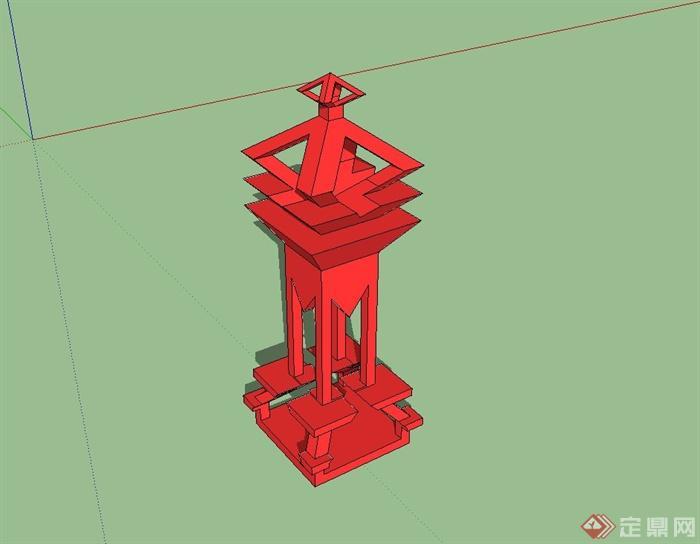 古典中式风格抽象雕塑小品设计su模型(2)