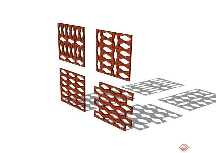 菱形镂空窗花设计合集su模型(1)