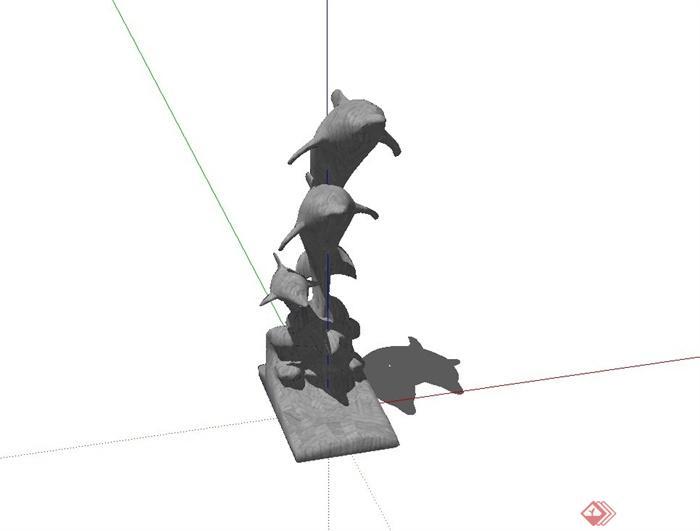 现代精致海豚动物雕塑设计su模型(2)