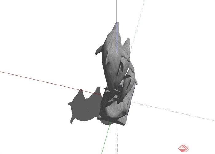 现代精致海豚动物雕塑设计su模型(3)