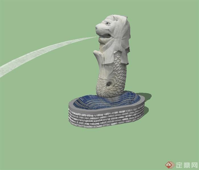 现代风格抽象动物雕塑设计su模型[原创]