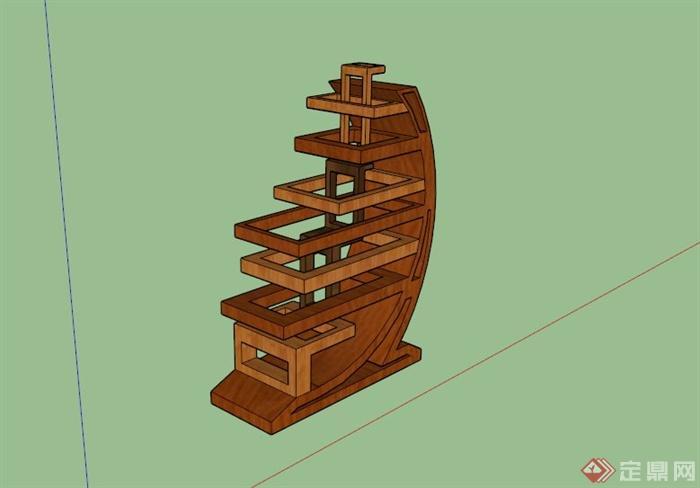 木材抽象雕塑设计su模型[原创]