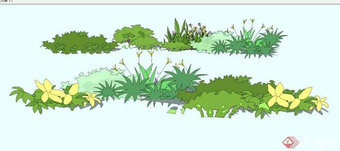 现代灌木丛景观植物设计合集su模型[原创]