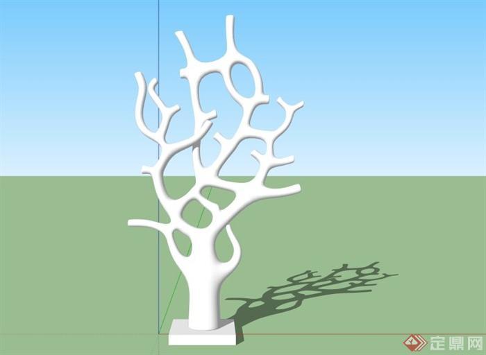 抽象树造型雕塑设计su模型[原创]