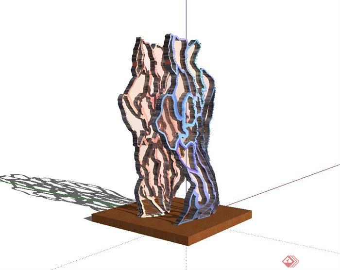 某现代简约抽象雕塑小品设计su模型[原创]