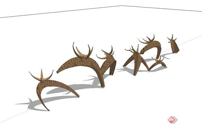 现代风格动物抽象小品设计su模型(1)
