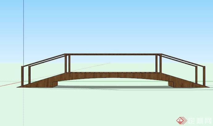 简约木栈道桥设计su模型[原创]