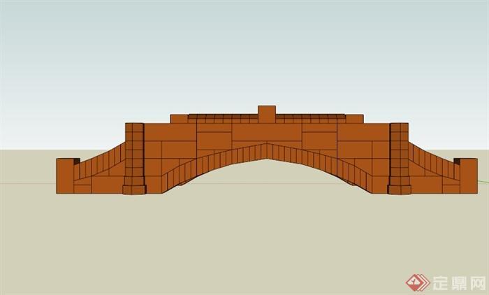 现代木质共形园桥设计SU模型