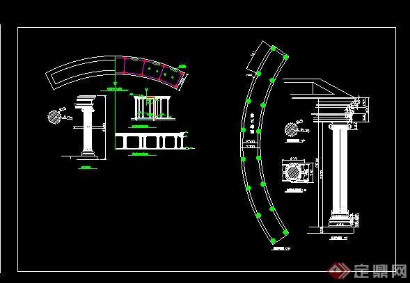 欧式廊架设计全套cad施工图