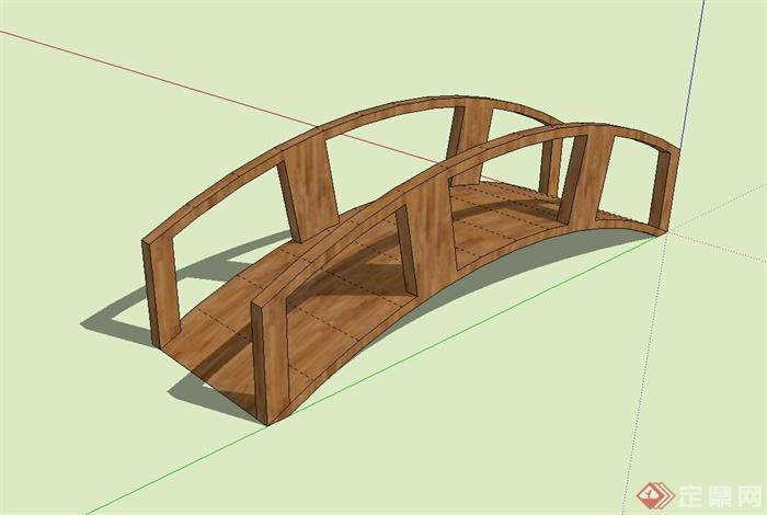 现代风格木质景观拱桥设计su模型[原创]
