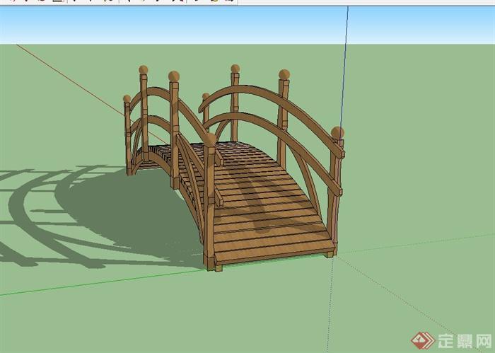 现代风格木质景观桥设计su模型