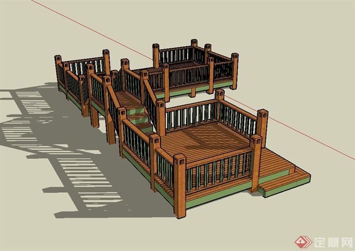 现代风格木栈道桥设计su模型(3)