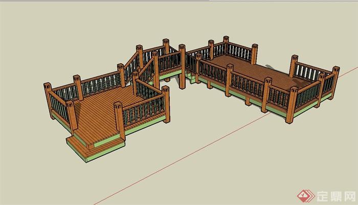 现代风格木栈道桥设计su模型(2)