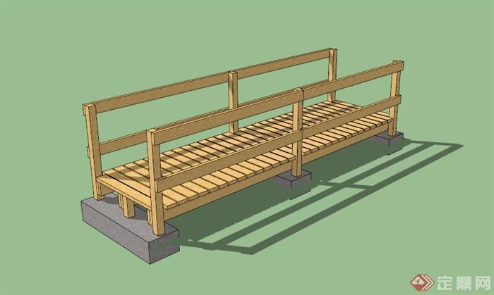 浅色木条拼接园桥设计su模型[原创]