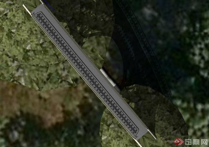 欧式铁艺栏杆桥梁设计su模型(2)图片