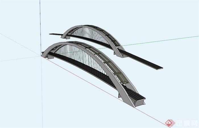 兩座現代橋梁設計SU模型,該設計風格為現代設計風格,造型簡約,有兩座橋梁設計,模型制作美觀詳細,細節部分制作精致,有材質貼圖,具有一定參考使用價值,歡迎下載使用。