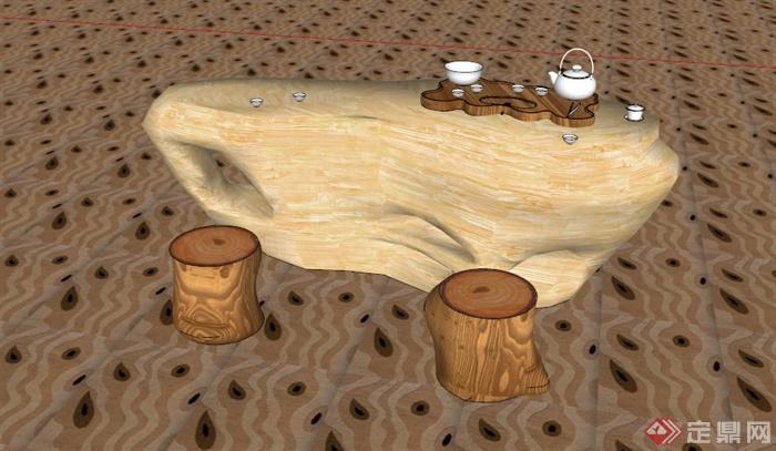 现代中式根雕茶几组合su模型[原创]