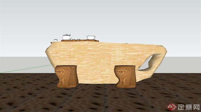 现代中式根雕茶几组合SU模型