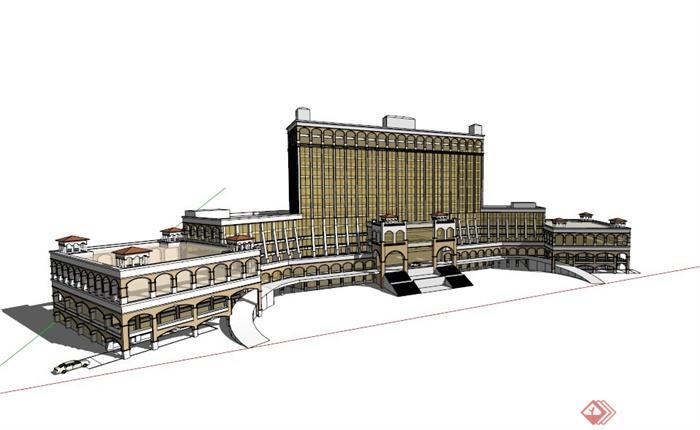 对称欧式酒店建筑设计su模型[原创]