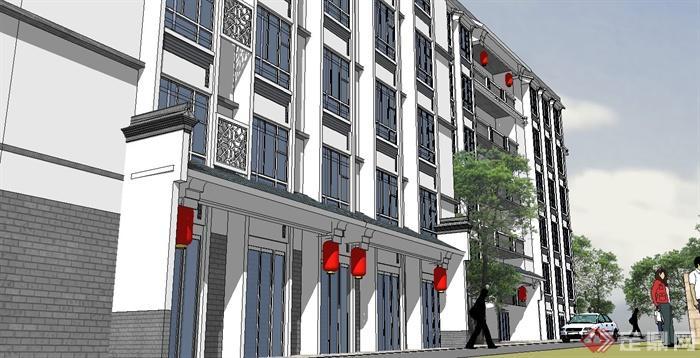 现代中式风格滨水仿古商业街及商住楼建筑设计su模型(3)图片
