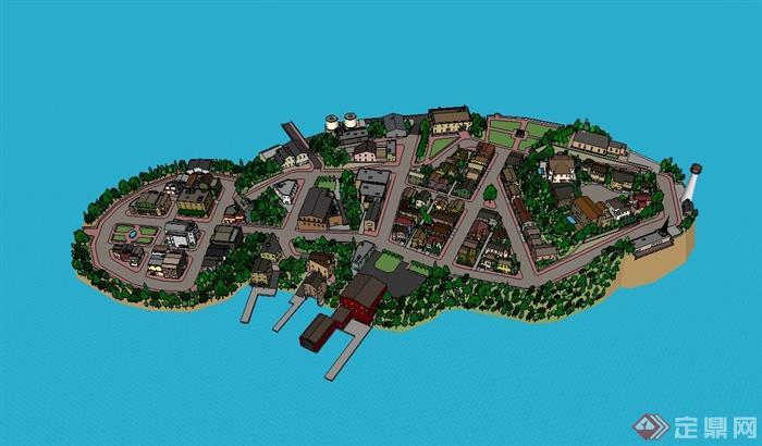 国外某小岛屿上的小镇设计su模型[原创]