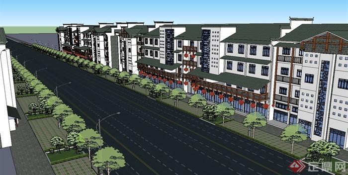 新中式的商业街建筑设计su模型(1)图片