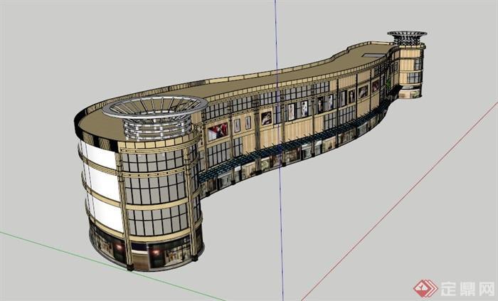 欧式弧形商场建筑设计su模型[原创]