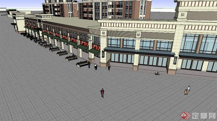 欧式风情沿街商业街设计su模型[原创]