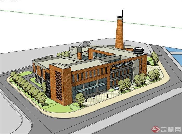 现代风格都江堰援助文化馆建筑设计su模型(2)