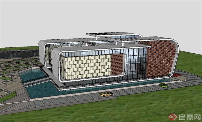 现代风格城市规划展览馆建筑设计su模型[原创]